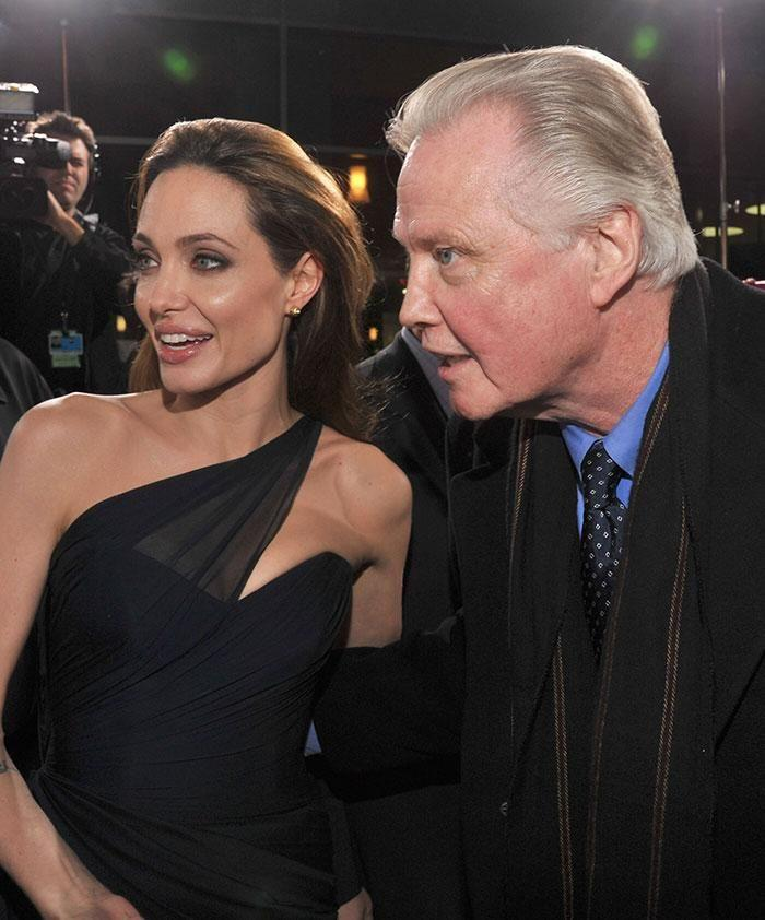 Angelina and her dad Jon Voight. Source: Getty
