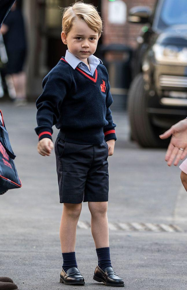 Prince George on his first day of school at Thomas's Battersea in September