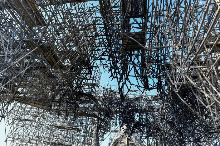 Parts of a destroyed scaffolding are pictured at the Notre Dame Cathedral, July 17, 2019 in Paris.(Photo: Stephane de Sakutin/Pool via AP)
