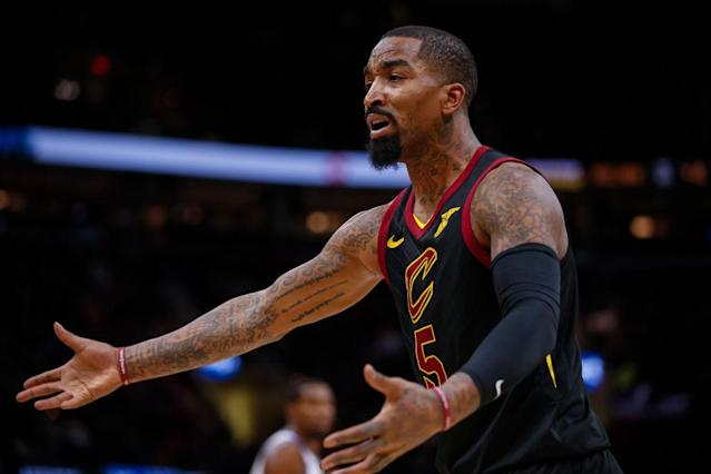 "<a class=""link rapid-noclick-resp"" href=""/nba/players/3835/"" data-ylk=""slk:J.R. Smith"">J.R. Smith</a> just wants you to show him where, specifically, the rules say that you can't throw a bowl of soup at someone. SPECIFICALLY. (Getty)"