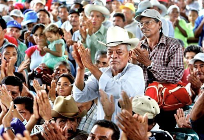 Former banana workers rally in Nicaragua in support of Dole workers.