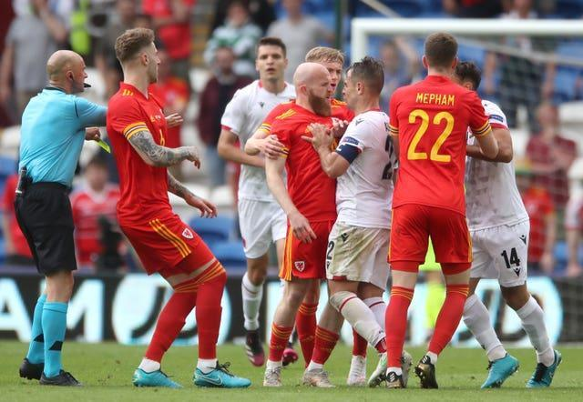 Wales and Albania players clash