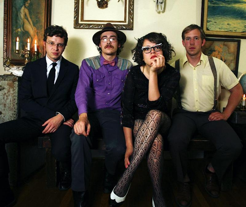 This undated publicity photo released by Partisan Records shows, from left, Ford Tennis, Jeffrey Munger, Sallie Ford and Tyler Tornfelt from the band Sallie Ford & The Sound Outside. (AP Photo/Partisan Records,