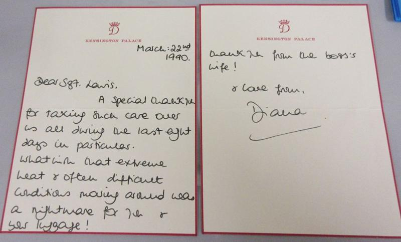 Princess Diana letter up for auction. | LawrencesAuctioneers/BNPS