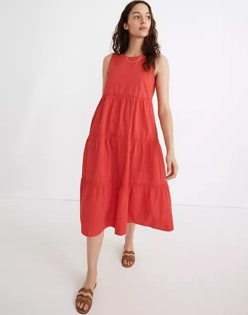 "<p>This colorful <span>Madewell Petite Cattail Tiered Dress</span> ($128) would look so cute with wedges and <a href=""https://www.popsugar.com/fashion/photo-gallery/47838934/embed/47839290/p"" class=""link rapid-noclick-resp"" rel=""nofollow noopener"" target=""_blank"" data-ylk=""slk:playful jewelry"">playful jewelry</a>.</p>"