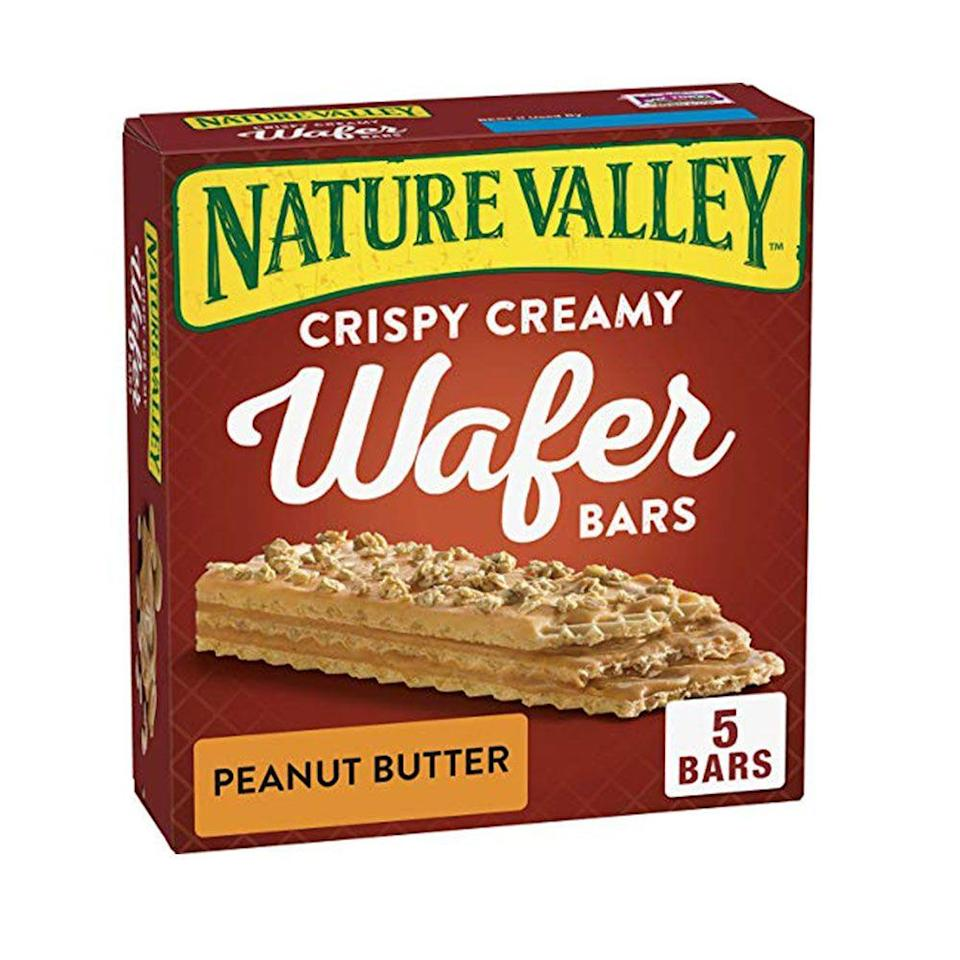 """<p><strong>Nature Valley</strong></p><p>amazon.com</p><p><strong>$4.26</strong></p><p><a href=""""http://www.amazon.com/dp/B07QBDM2JB/?tag=syn-yahoo-20&ascsubtag=%5Bartid%7C1782.g.28638254%5Bsrc%7Cyahoo-us"""" rel=""""nofollow noopener"""" target=""""_blank"""" data-ylk=""""slk:BUY NOW"""" class=""""link rapid-noclick-resp"""">BUY NOW</a></p><p>Nature Valley granola bars are a tried and true favorite. But there's even more magic coming out of that valley these days with the crispy creamy wafer bars. It's kind of like their version of Little Debbie's Nutty Bars.</p>"""