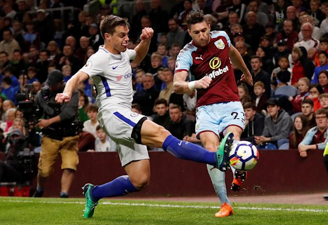 "Soccer Football - Premier League - Burnley vs Chelsea - Turf Moor, Burnley, Britain - April 19, 2018 Burnley's Stephen Ward in action with Chelsea's Cesar Azpilicueta Action Images via Reuters/Andrew Boyers EDITORIAL USE ONLY. No use with unauthorized audio, video, data, fixture lists, club/league logos or ""live"" services. Online in-match use limited to 75 images, no video emulation. No use in betting, games or single club/league/player publications. Please contact your account representative for further details."