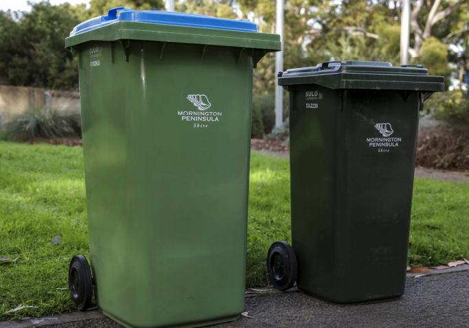 Mornington Peninsula residents will have their recycling bins (pictured left) inspected randomly by council. Source: Mornington Peninsula Shire