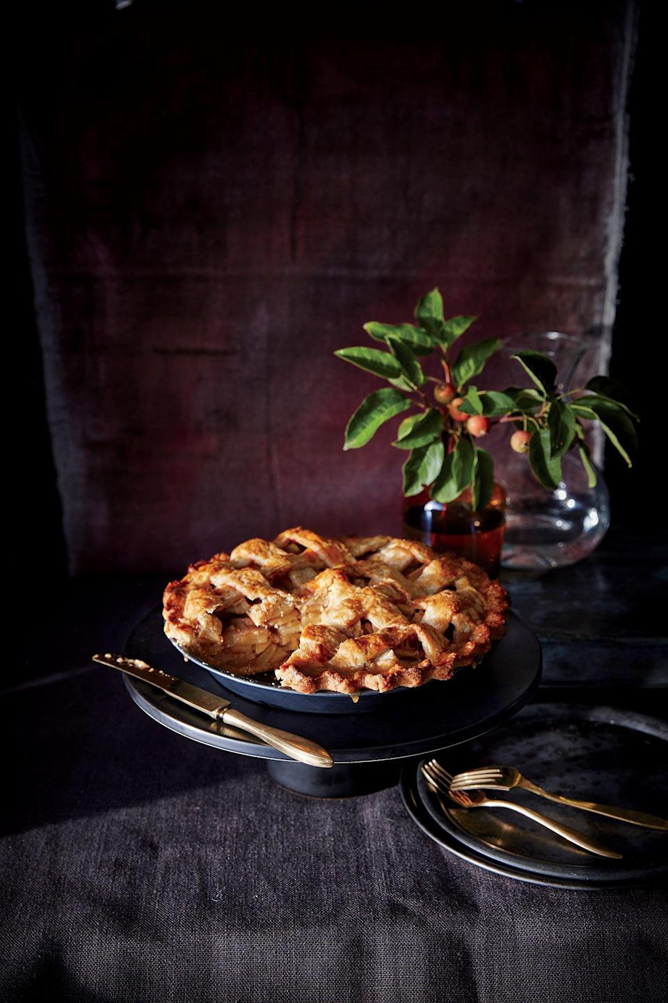 """<p>Grated apple is the secret to a syrupy pie filling--it releases more pectin (a natural thickener) than the sliced apples alone. A quick salted caramel intensifies the apple flavor without making the dessert too sweet.</p> <p><a href=""""https://www.myrecipes.com/recipe/salted-caramel-apple-pie"""" rel=""""nofollow noopener"""" target=""""_blank"""" data-ylk=""""slk:Salted Caramel Apple Pie Recipe"""" class=""""link rapid-noclick-resp"""">Salted Caramel Apple Pie Recipe</a></p>"""