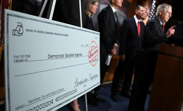 Republicans, pictured at a press conference in the US Congress on September 22, 2021, say Democrats need to take ownership of debt increases while they run the House, Senate and White House (AFP/Olivier DOULIERY)