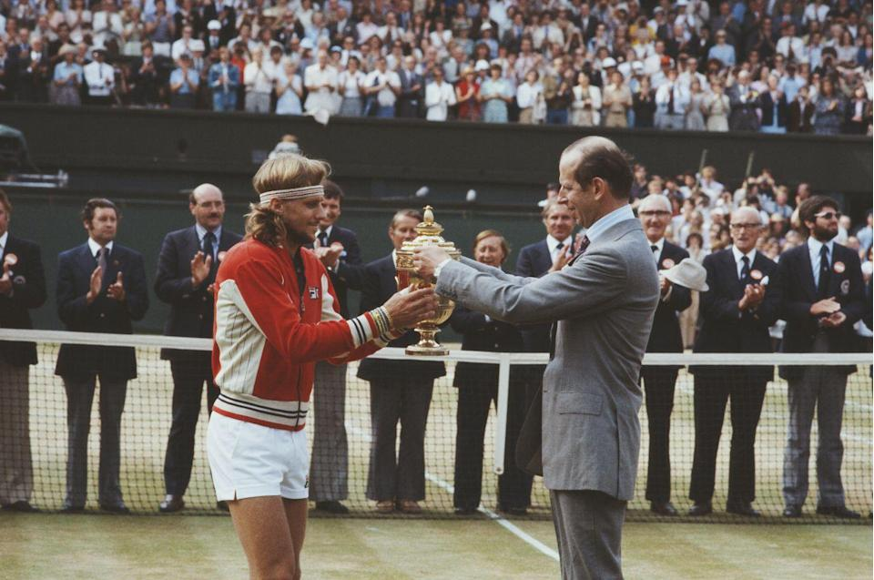 <p>Bjorn Borg receives the trophy from the Duke of Kent after defeating Roscoe Tanner during the Men's Singles Final match in July 1979.</p>