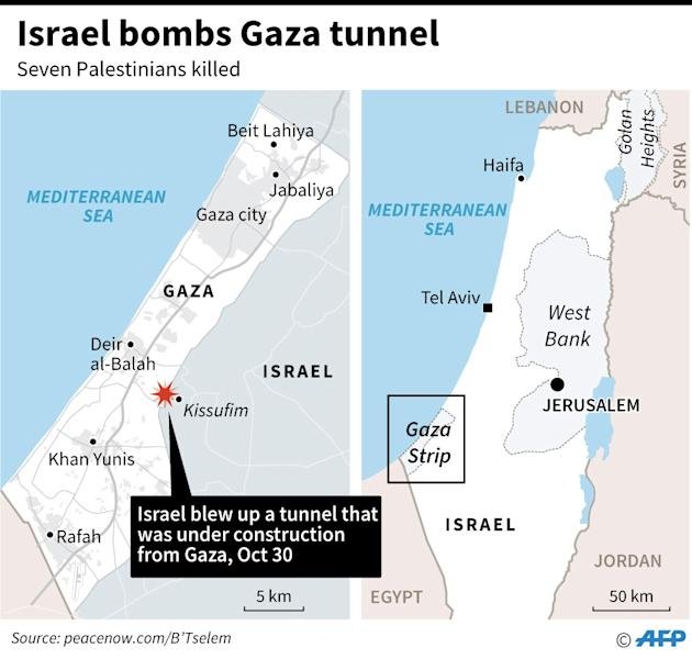 Map showing the area on the Gaza strip where Israel blew up a tunnel being dug to the Israeli side of the border on Monday, killing seven Palestinians and injuring 12. (AFP Photo/John SAEKI)
