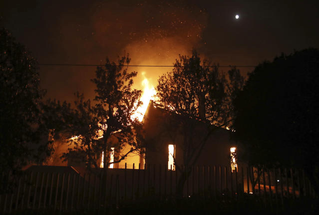 <p>A house burns in the town of Mati, east of Athens, Monday, July 23, 2018. Regional authorities have declared a state of emergency in the eastern and western parts of the greater Athens area as fires fanned by gale-force winds raged through pine forests and seaside settlements on either side of the Greek capital. (AP Photo/Thanassis Stavrakis) </p>