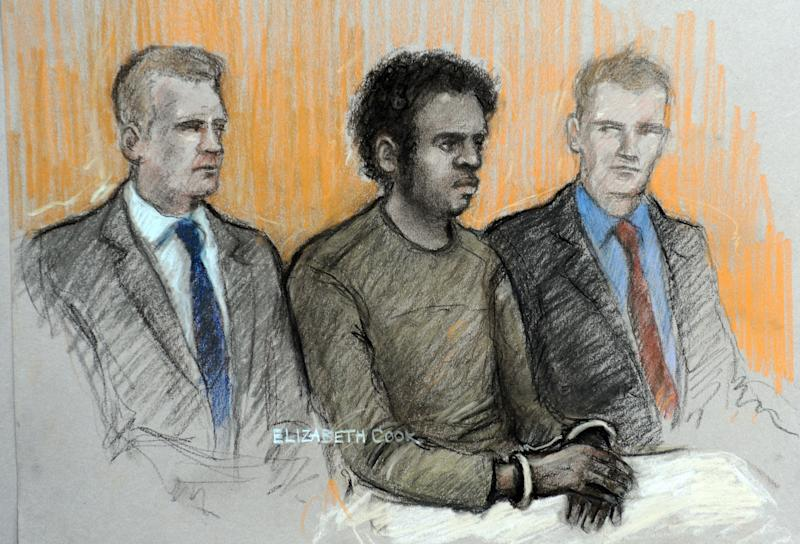 This is a court artist sketch by Elizabeth Cook of Michael Adebowale, flanked by two police officers in the dock, during his appearance at Westminster Magistrates' Court in London Thursday May 30, 2013, where he was  accused of murdering British soldier Drummer Lee Rigby on May 22. Adebowale accused of killing Rigby in London appeared in the court to confirm his name, address and date of birth. Michael Adebowale, 22, was handcuffed during the brief appearance Thursday. He was allowed to sit down while giving information because he is still recovering from being shot by police. He is one of two men suspected of attacking Lee Rigby. The other, 28-year-old Michael Adebolajo, remains hospitalized and has not been charged. (AP Photo/Elizabeth Cook /PA) UNITED KINGDOM OUT