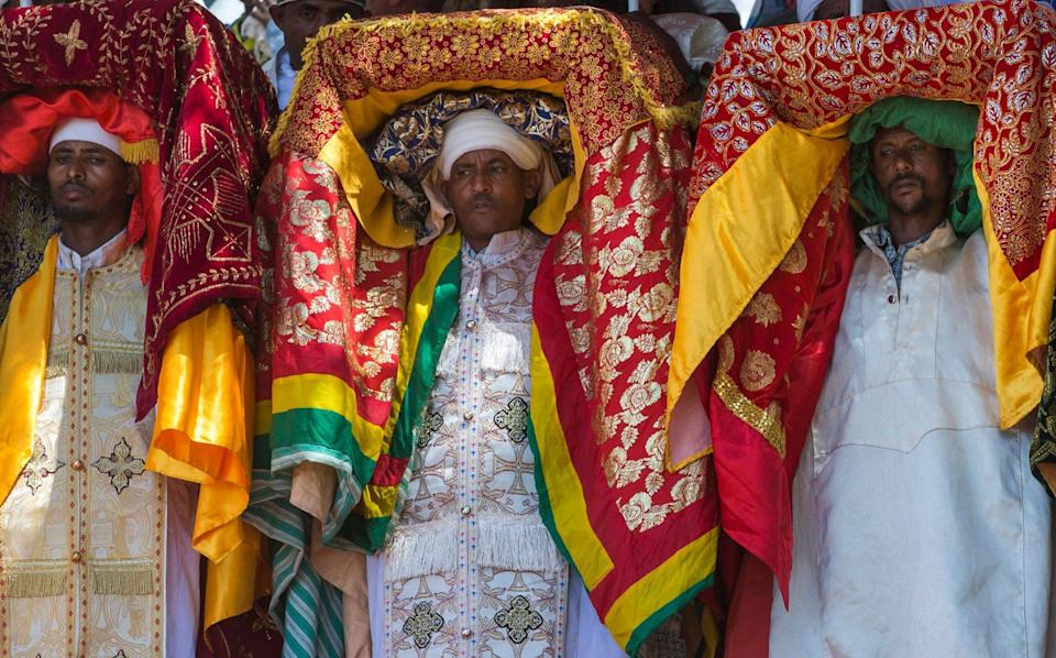 Priests carry Tabots during a Timkat Epiphany Festival, Lalibela, Ethiopia - ERIC LAFFORGUE / Alamy Stock Photo
