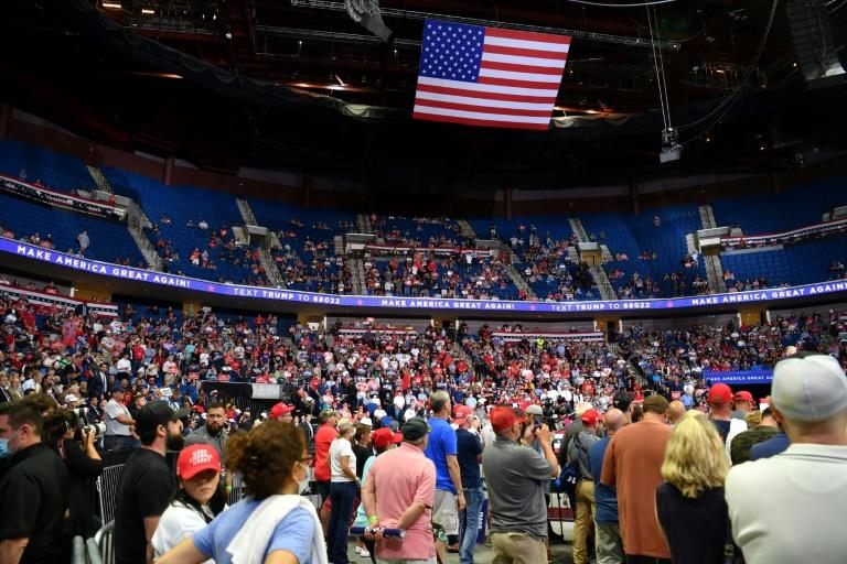The upper section of the arena is seen partially empty as US President Donald Trump speaks during a campaign rally at the BOK Center on June 20, 2020 in Tulsa, Oklahoma (AFP Photo/Nicholas Kamm)