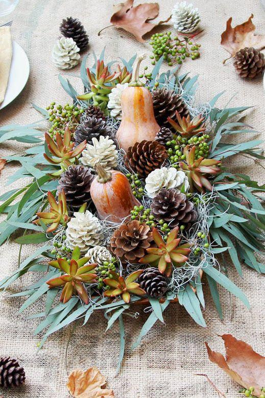 """<p>These pale pinecones are pretty enough to display on their own, or in this simple arrangement featuring gourds, berries, and succulents. </p><p><strong>Get the tutorial at </strong><a href=""""https://www.apieceofrainbow.com/bleached-pinecones-whitewash/"""" rel=""""nofollow noopener"""" target=""""_blank"""" data-ylk=""""slk:A Piece of Rainbow"""" class=""""link rapid-noclick-resp""""><strong>A Piece of Rainbow</strong></a><strong>.</strong></p><p><a class=""""link rapid-noclick-resp"""" href=""""https://www.amazon.com/SuperMoss-24511-Black-Spruce-8-Ounce/dp/B00K80EWGA/?tag=syn-yahoo-20&ascsubtag=%5Bartid%7C10050.g.2130%5Bsrc%7Cyahoo-us"""" rel=""""nofollow noopener"""" target=""""_blank"""" data-ylk=""""slk:SHOP PINECONES""""><strong>SHOP PINECONES</strong></a></p>"""