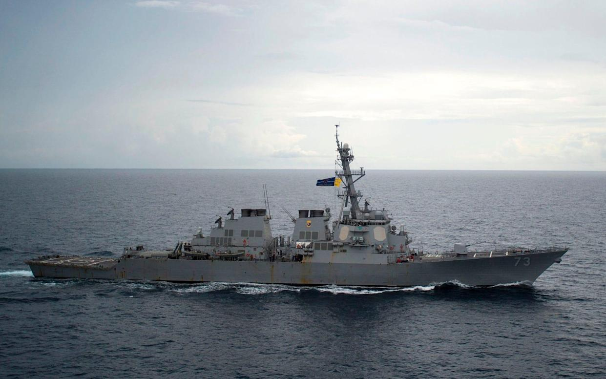The USS Decatur sailing through the South China Sea in 2016 - AFP