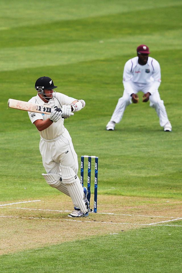 DUNEDIN, NEW ZEALAND - DECEMBER 03: Peter Fulton of New Zealand works the ball away for four runs during day one of the first test match between New Zealand and the West Indies at University Oval on December 3, 2013 in Dunedin, New Zealand. (Photo by Hannah Johnston/Getty Images)