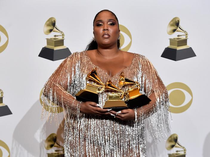 Lizzo ended the 2020 Grammys wearing a custom sheer Versace dress.