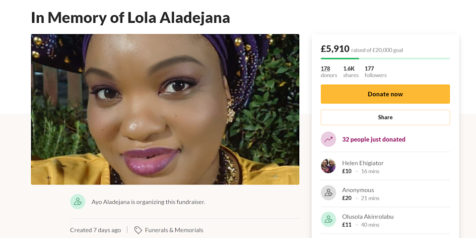 Lola Aladejana was a hospital receptionist (Screen grab/GoFundMe)
