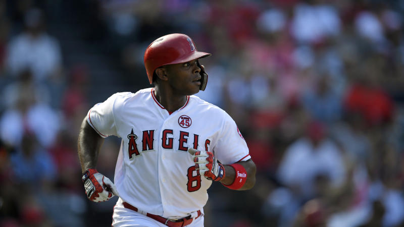 Los Angeles Angels' Justin Upton runs to first as he hits a solo home run during the eighth inning of a baseball game against the Boston Red Sox Sunday, Sept. 1, 2019, in Anaheim, Calif. (AP Photo/Mark J. Terrill)