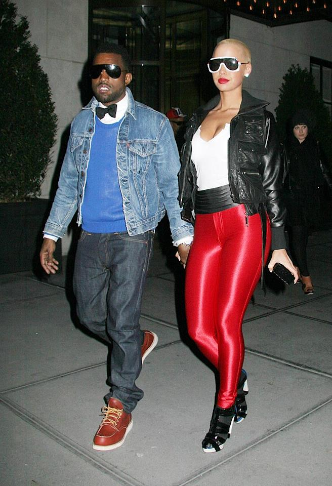 "What's worse? Kanye West's Steve Urkel-inspired ensemble, or the outfit worn by his Lycra-loving robotic arm candy? Jose Perez/<a href=""http://www.splashnewsonline.com"" target=""new"">Splash News</a> - February 18, 2009"