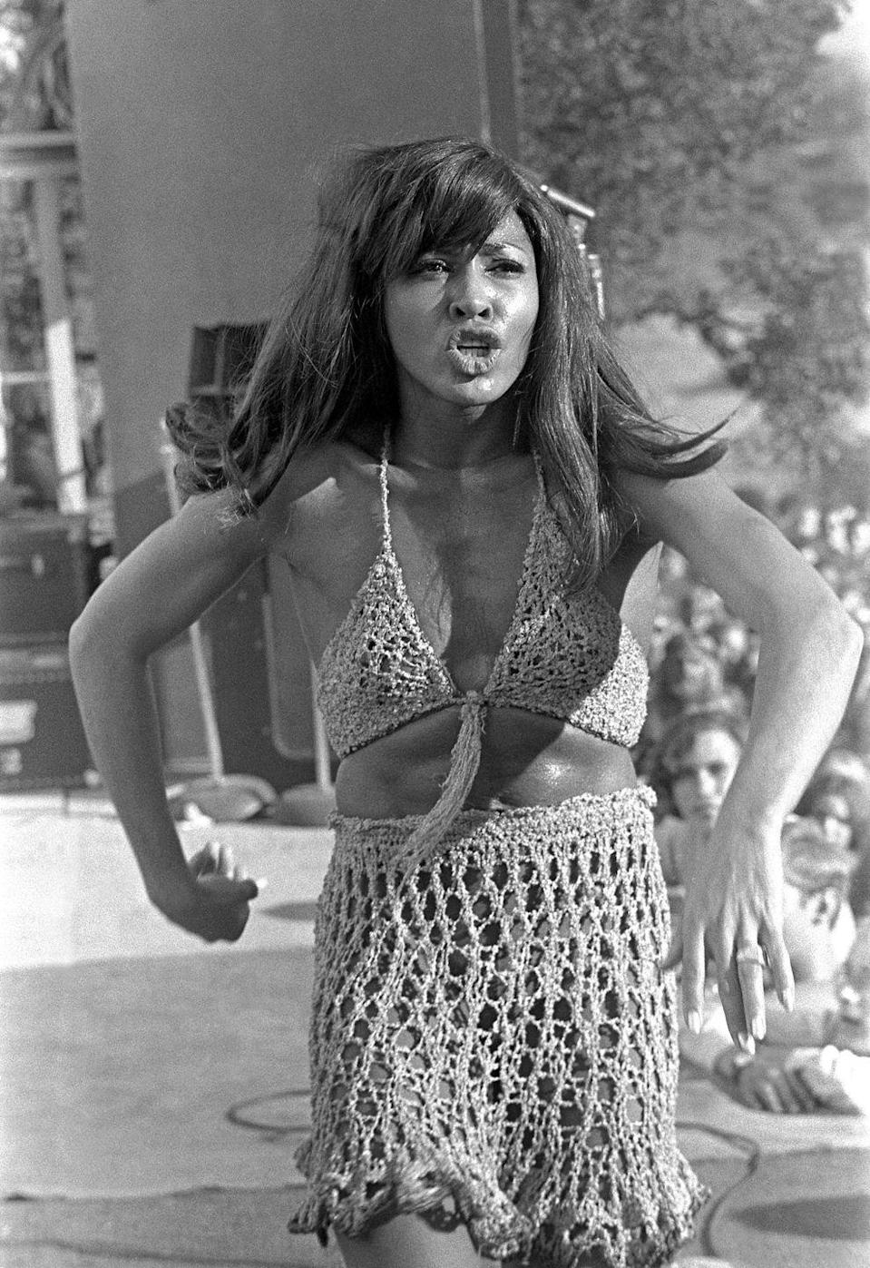 <p>One of the biggest trends out of the late '60s was crochet. Tina Turner proves it was meant for performing.<br></p>