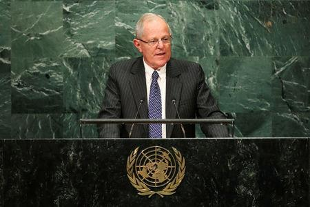 Peru's President Pedro Pablo Kuczynski addresses the United Nations General Assembly in the Manhattan borough of New York, U.S. September 20, 2016. REUTERS/Eduardo Munoz