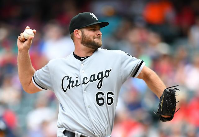 Chris Volstad pitches against the Indians in May in Cleveland. (Getty Images)