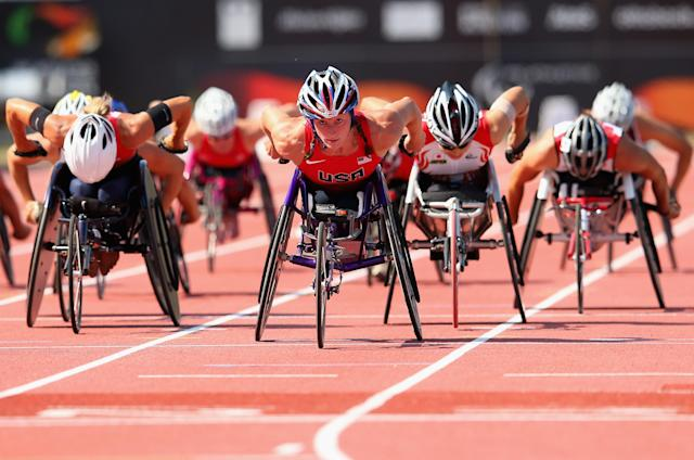 LYON, FRANCE - JULY 25: Tatyana McFadden of USA on her way to winning the Women's 1500m T54 final during day six of the IPC Athletics World Championships on July 25, 2013 in Lyon, France. (Photo by Julian Finney/Getty Images)