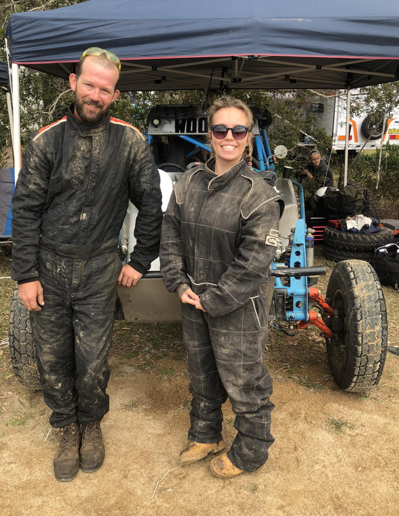 Des Woods and his step daughter Amber Towle at an off road vehicle race