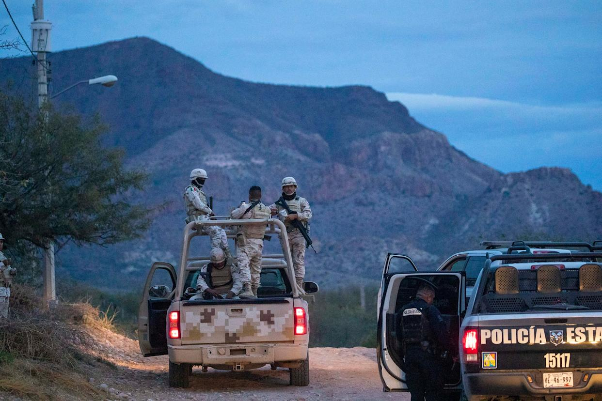 Mexican state police escorted the convoy to the army base west of the city on November 6, 2019.