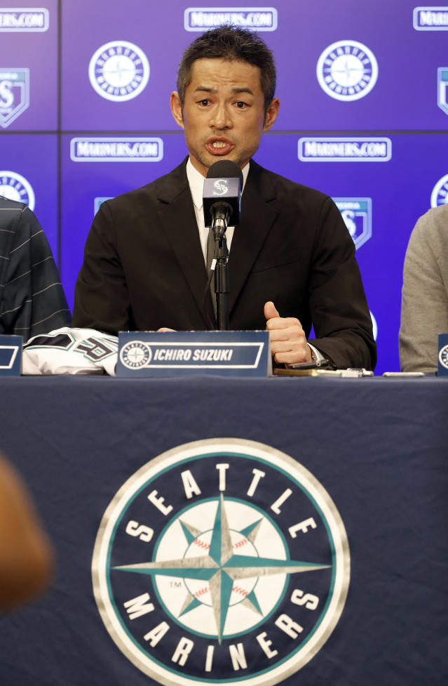 Seattle Mariners' Ichiro Suzuki speaks at a news conference at the teams' spring training baseball complex Wednesday, March 7, 2018, in Peoria, Ariz. Suzuki signed a one year deal in his return to the Mariners. (AP Photo/Matt York)