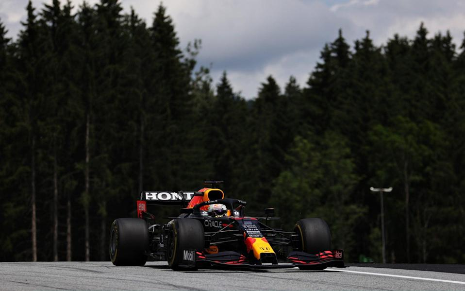 Max Verstappen of the Netherlands driving the (33) Red Bull Racing RB16B Honda on track during practice ahead of the F1 Grand Prix of Styria at Red Bull Ring on June 25, 2021 in Spielberg, Austria - Bryn Lennon/Getty Images