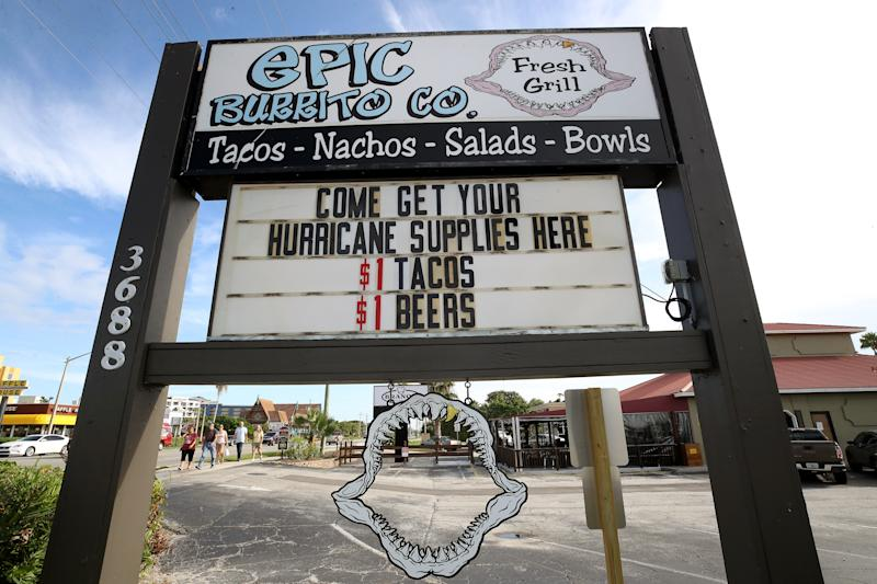 restaurant advertises hurricane supplies as Hurricane Dorian approaches the coast, on August 30, 2019 in Cocoa Beach, Florida. (Photo: Mark Wilson/Getty Images)