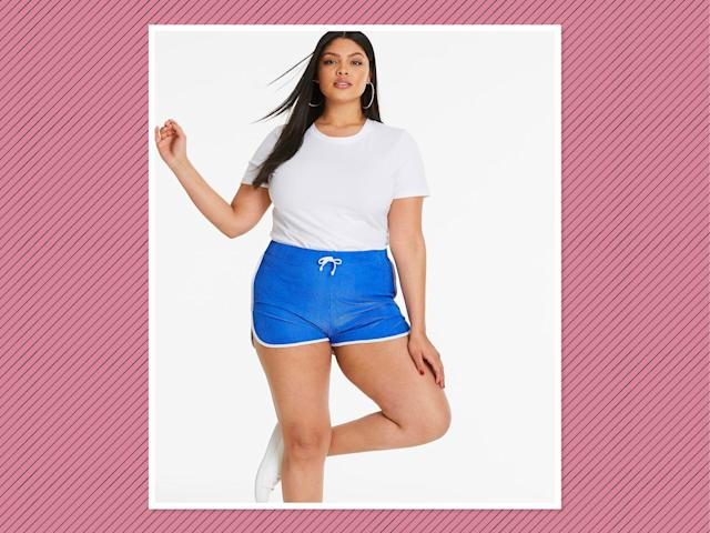 "<p>Track Shorts, $25, <a href=""https://www.simplybe.com/en-us/products/track-shorts/p/WZ605#&mainSearch=true&outletSearch=false"" rel=""nofollow noopener"" target=""_blank"" data-ylk=""slk:Simply Be"" class=""link rapid-noclick-resp"">Simply Be</a> (Photo: Simply Be) </p>"