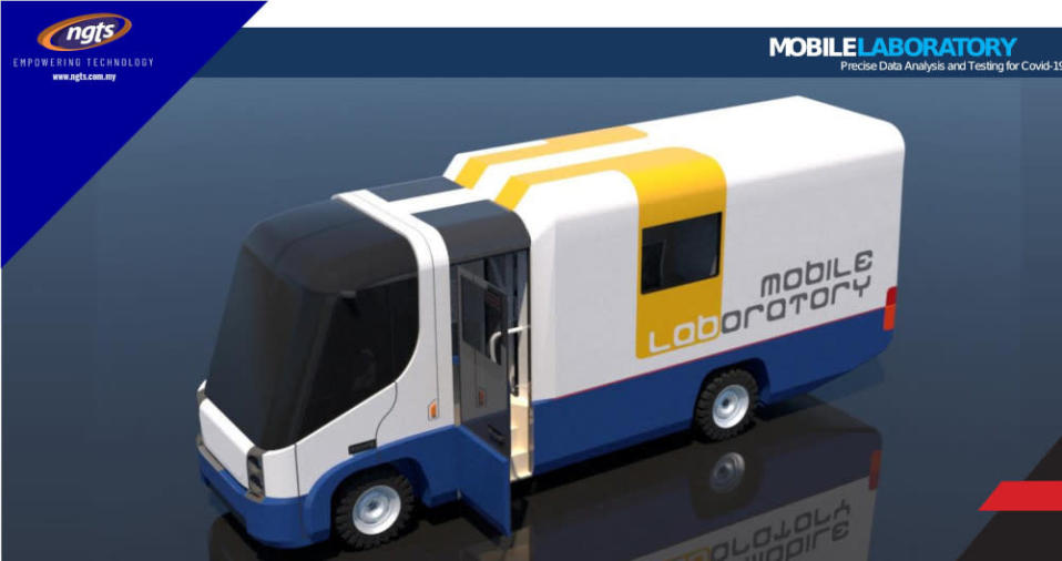 An artist's rendition of NGT Solutions' mobile laboratory deployed in a community centre. The mobile lab or MoLAB is able to provide accurate Covid-19 screening with results issued within two hours. — Picture courtesy of NGT Solutions