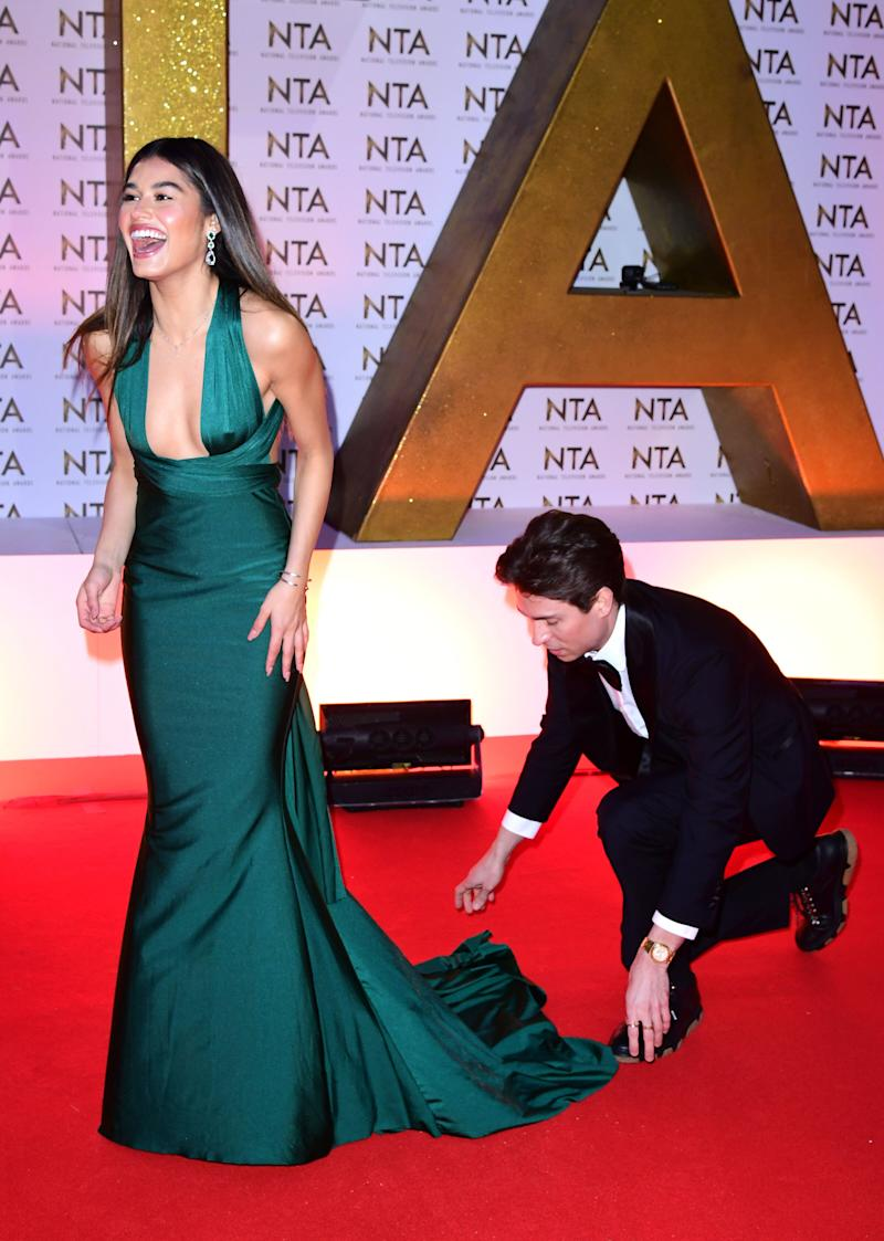 Joey Essex (left) and Lorena Medina during the National Television Awards at London's O2 Arena.