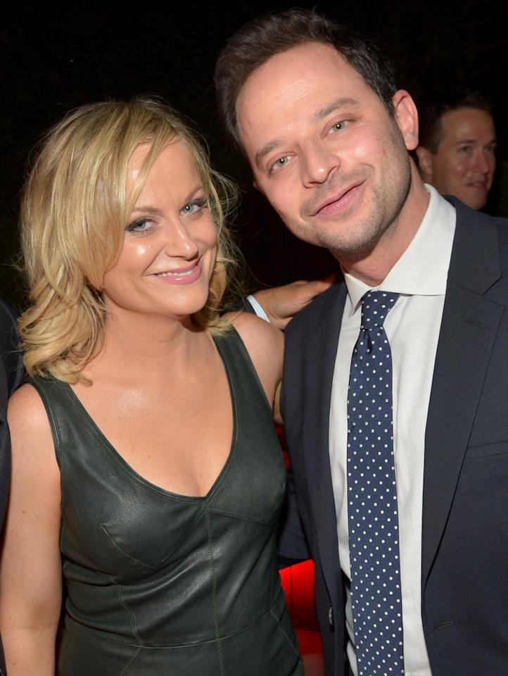 LOS ANGELES, CA - NOVEMBER 12: Actor/comedians Amy Poehler (L) and Nick Kroll attend the GQ Men Of The Year Party at The Ebell Club of Los Angeles on November 12, 2013 in Los Angeles, California. (Photo by Michael Buckner/Getty Images for GQ)