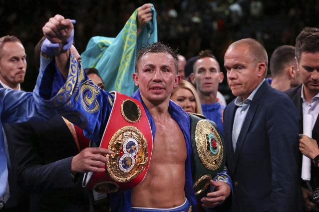 Gennadiy Golovkin raises his arm after defeating Sergiy Derevyanchenko by decision in their IBF middleweight championship title bout at Madison Square Garden in New York on Saturday, Oct. 5, 2019. (AP Photo/Rich Schultz)