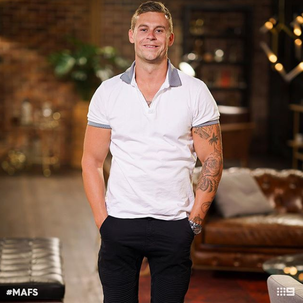 MAFS' Ryan Gallagher has reportedly been telling his mates he's got a celebrity girlfriend. Source: Ten