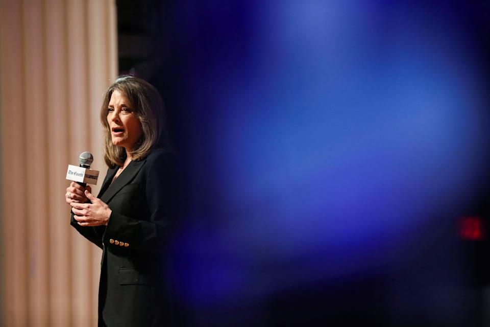 Democratic presidential candidate and author Marianne Williamson speaks at the One Iowa and GLAAD LGBTQ Presidential Forum in Cedar Rapids, Iowa, September 20, 2019. REUTERS/Scott Morgan