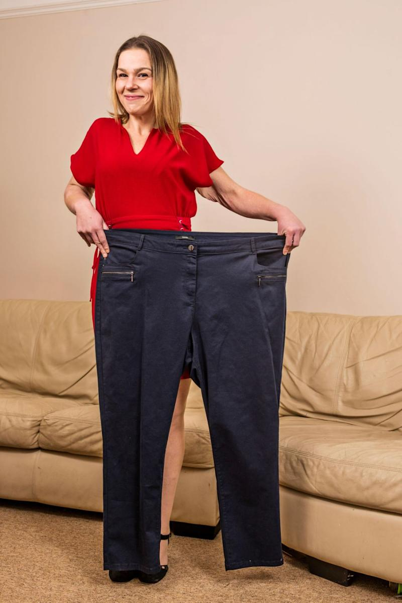 She's now lost an incredible 70kgs and curbed her addiction. Photo: Caters News