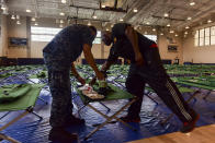 <p>Morale Welfare and Recreation employees and Joint Base Pearl Harbor-Hickam personnel go over emergency preparation kits at the base fitness center in Pearl Harbor as Hurricane Lane approaches Hawaii on Aug. 23, 2018. In preparation for Category 4 Hurricane Lane, the base is currently at Tropical Cyclone Condition of Readiness (TCCOR) 3, indicating that destructive and sustained winds of 50 knots or greater are possible within 48 hours as of 11 a.m. Hawaii Standard Time. (Photo: Mass Communication Specialist 1st Class Corwin M. Colbert/U.S. Navy) </p>