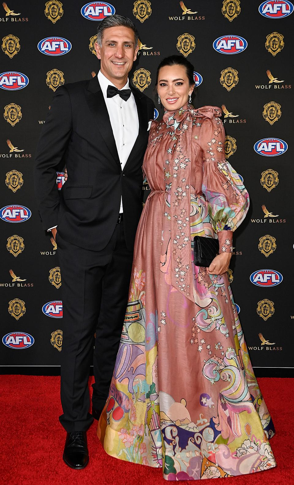Matthew Pavlich and Lauren O'Shannassy at the Brownlow Medal 2021