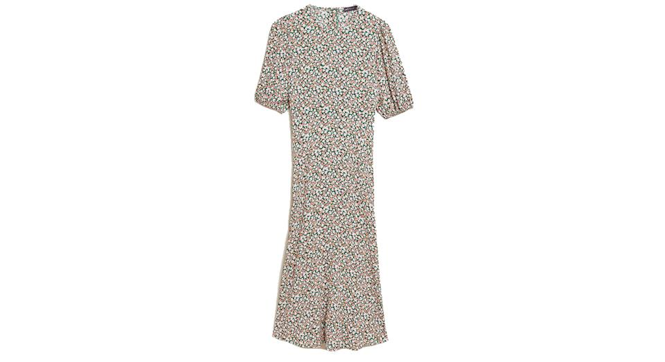 Floral Puff Sleeve Midaxi Tea Dress