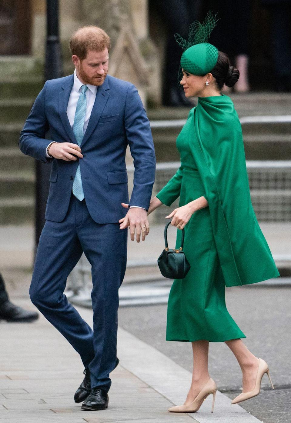 """<p>The couple marked their final public outing as senior royals in March 2020 at the <a href=""""https://www.elle.com/uk/fashion/a26783906/meghan-markle-kate-middleton-commonweath-day/"""" rel=""""nofollow noopener"""" target=""""_blank"""" data-ylk=""""slk:Commonwealth Day Service"""" class=""""link rapid-noclick-resp"""">Commonwealth Day Service</a>.</p><p>The pair were seen walking into Westmister Abbey hand-in-hand to meet with fellow royals including <a href=""""https://www.elle.com/uk/fashion/celebrity-style/articles/g16440/kate-middleton-s-style-file/"""" rel=""""nofollow noopener"""" target=""""_blank"""" data-ylk=""""slk:Kate Middleton"""" class=""""link rapid-noclick-resp"""">Kate Middleton</a> and Prince William. </p>"""