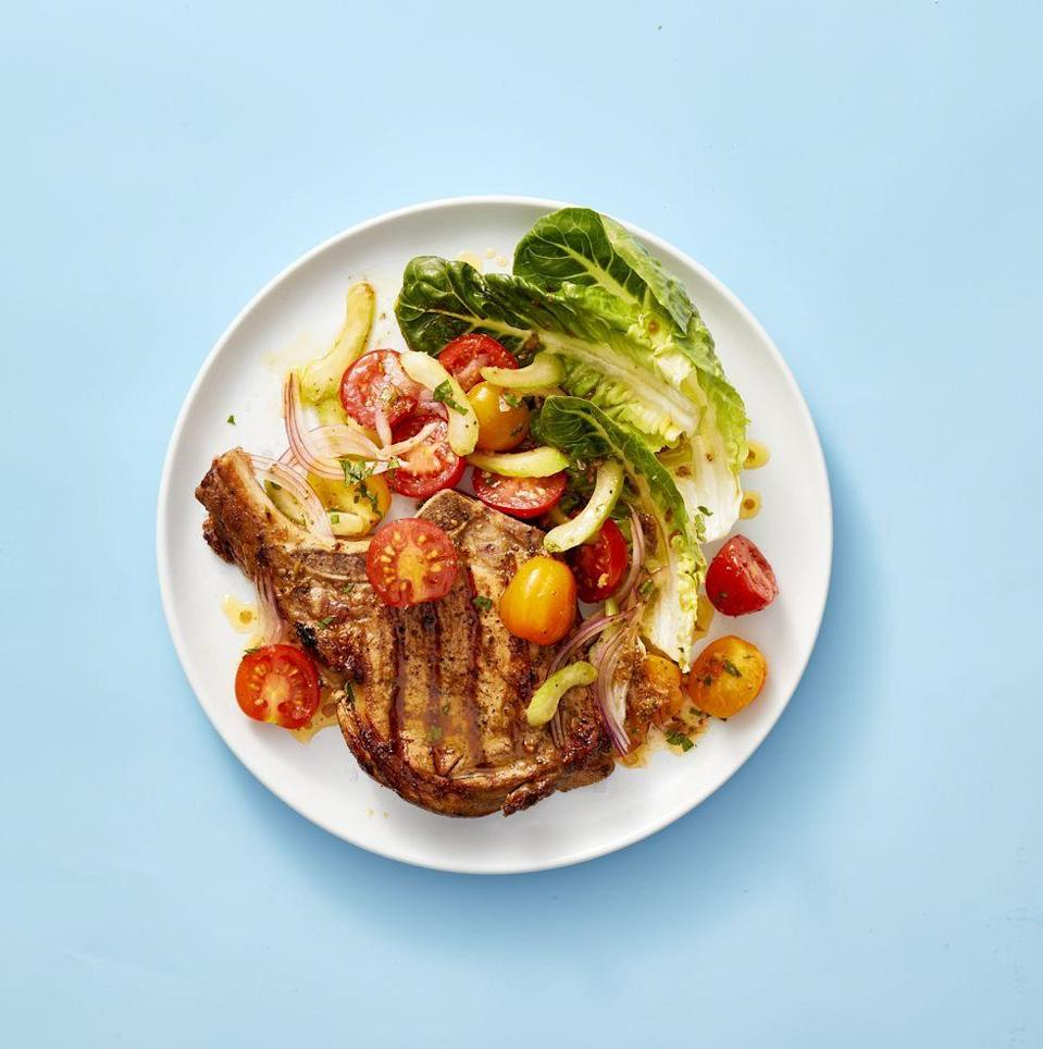 "<p>All the flavors of the fave brunch cocktail (except the booze), paired perfectly with meaty grilled chops.</p><p><em><a href=""https://www.goodhousekeeping.com/food-recipes/easy/a28469802/pork-chops-with-bloody-mary-tomato-salad-recipe/"" rel=""nofollow noopener"" target=""_blank"" data-ylk=""slk:Get the recipe for Pork Chops With Bloody Mary Tomato Salad »"" class=""link rapid-noclick-resp"">Get the recipe for Pork Chops With Bloody Mary Tomato Salad »</a></em></p>"