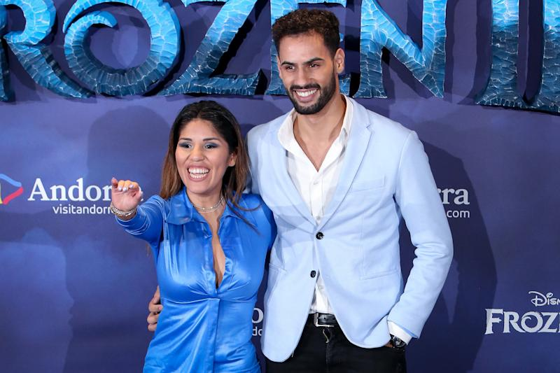 MADRID, SPAIN - NOVEMBER 19: Isa Pantoja (L) and Asraf Beno (R) attends 'Frozen II' premiere at Callao Cinema on November 19, 2019 in Madrid, Spain. (Photo by Pablo Cuadra/Getty Images)